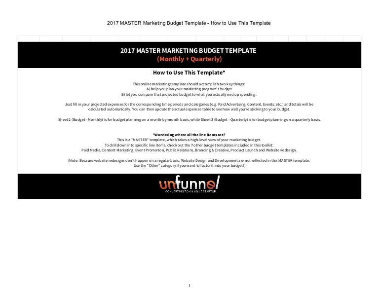 2017 master marketing budget excel template