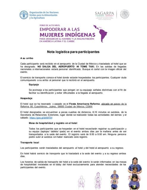 Nota Logística Foro Regional de Mujeres Indígenas