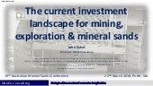 The investment climate for mining, exploration and mineral sands - Sykes - Mar 2018 - MinEx Consulting