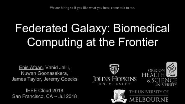 Federated Galaxy: Biomedical Computing at the Frontier