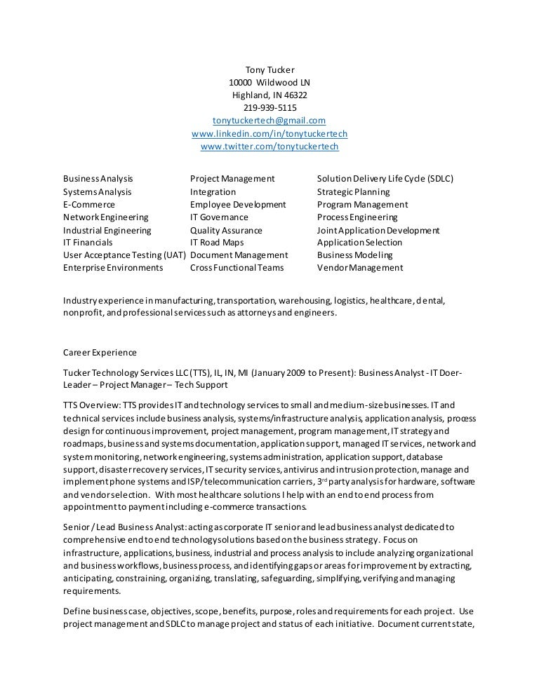 Business Analyst Cv And Resume Of Tony Tucker It Leader