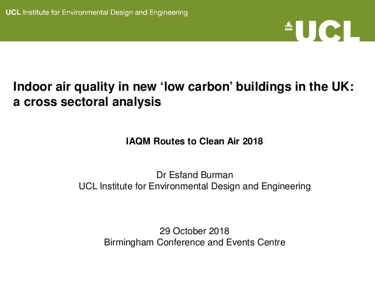 Indoor Air Quality In Low Carbon Buildings A Cross Sectoral Analysis