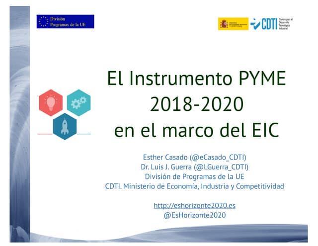 H2020 – El Instrumento PYME en 2018-2020