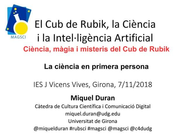 El Cub de Rubik, la Ciència i la intel·ligència artificial