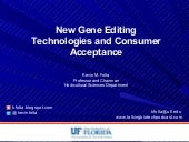 New Gene Editing Technologies and Consumer Acceptance