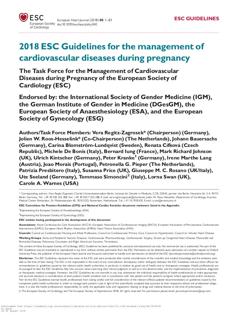 2018 Esc Guidelines For The Management Of Cardiovascular Disease Duri
