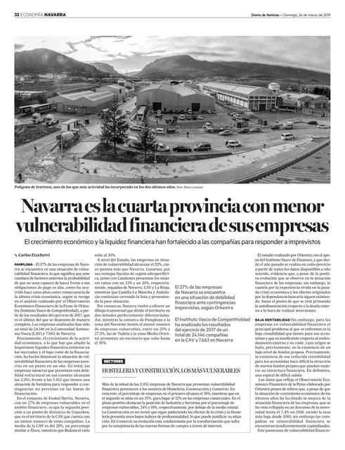 Vulnerabilidad Financiera de las Empresas Navarras