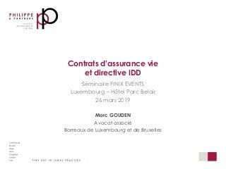 Assurance vie et Directive IDD - Transposition Luxembourg