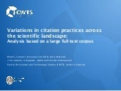 Variations in citation practices across the scientific landscape: Analysis based on a large full-text corpus