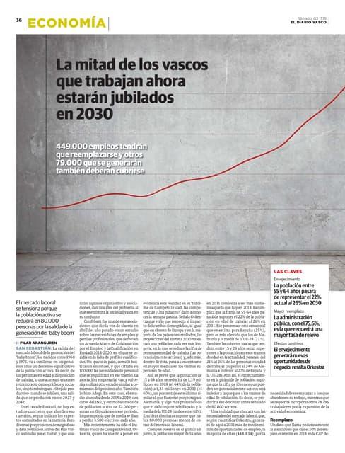 La mitad de los vascos que trabajan ahora estarán jubilados en 2030