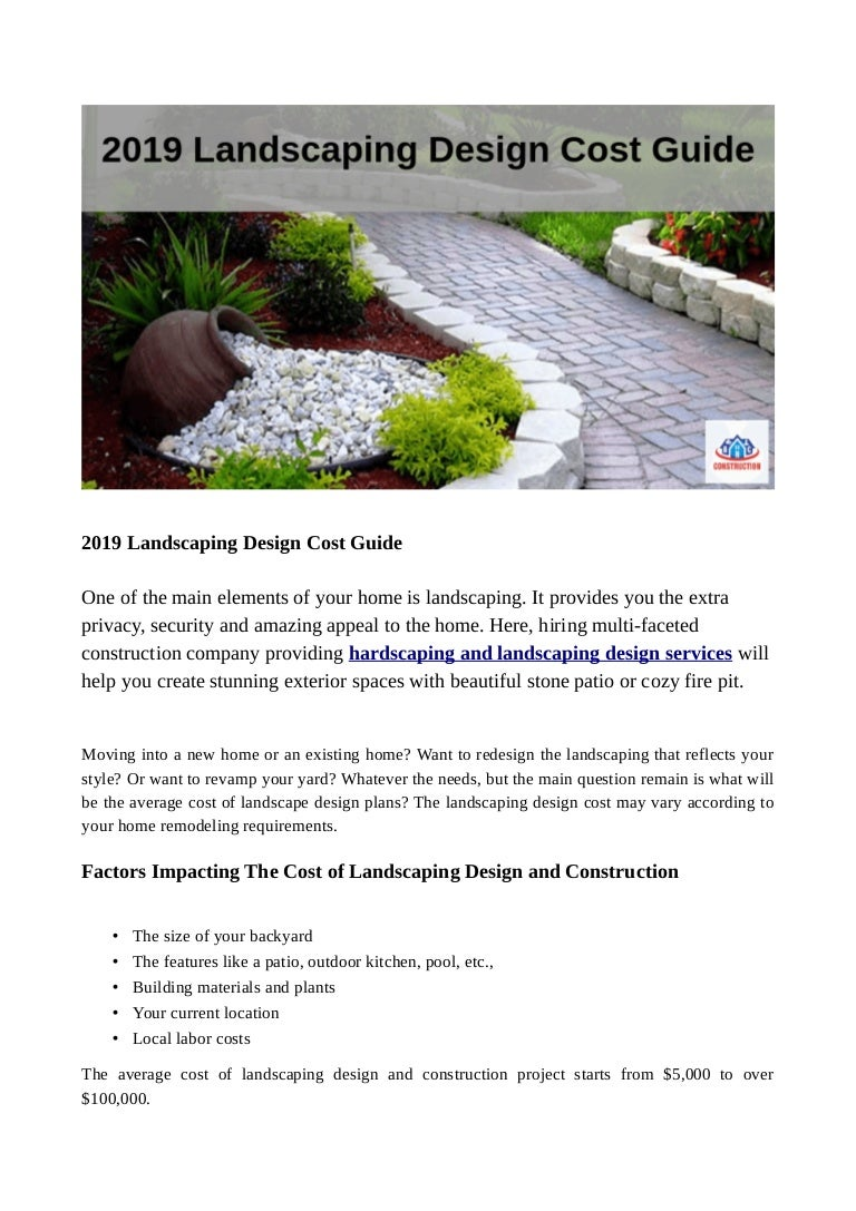 2019 Landscaping Design Cost Guide
