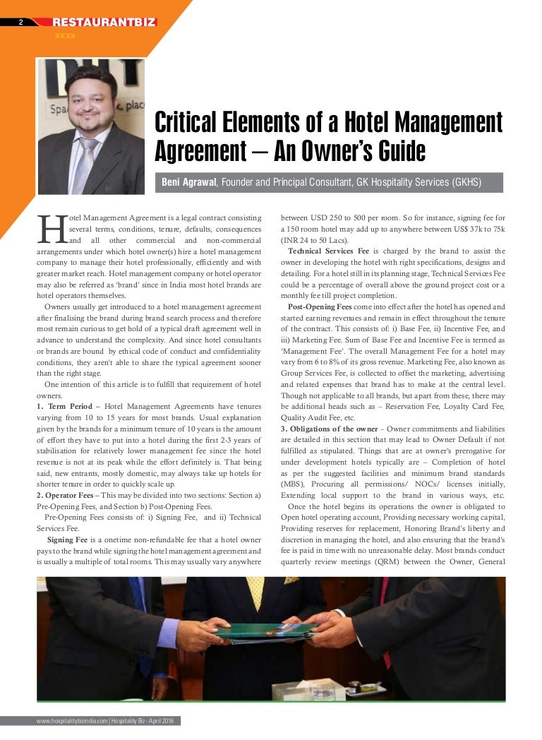2 Article Critical Elements Of A Hotel Management Agreement Apr