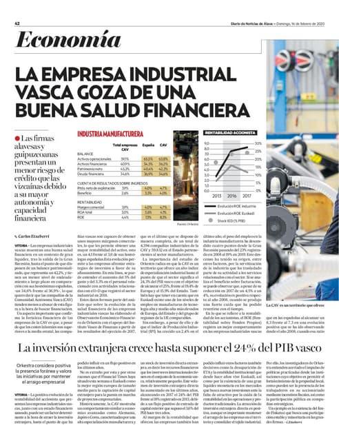En Álava la empresa industrial vasca goza de una buena salud financiera