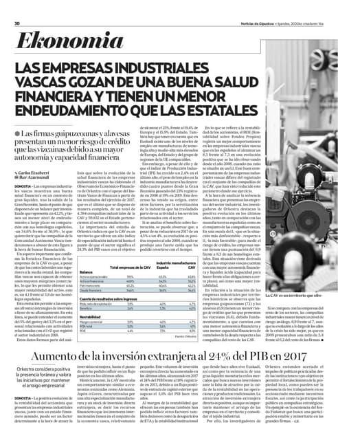 Las empresas industriales vascas gozan de una buena salud financiera y tienen un menor endeudamiento que las estatales