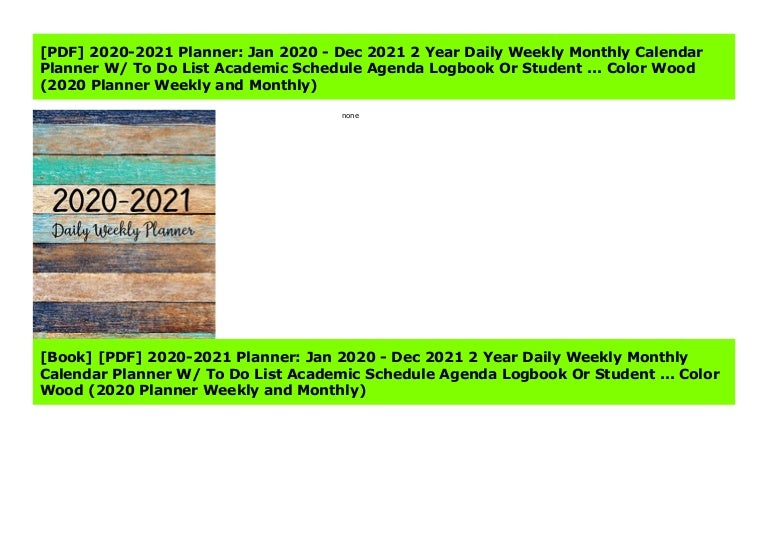 Pdf 2020 2021 Planner Jan 2020 Dec 2021 2 Year Daily Weekly Mont