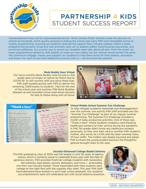 Partnership 4 Kids 2020 Quarterly Student Success Report
