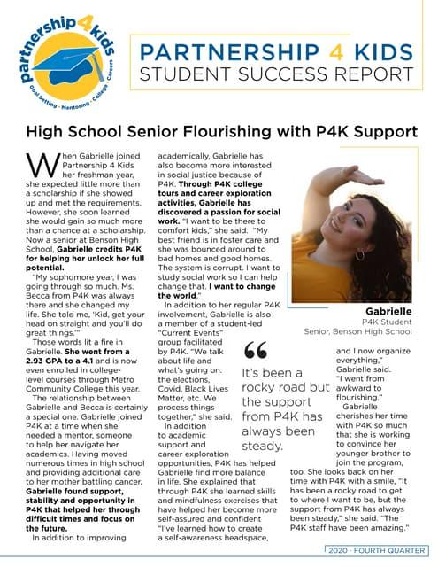 Partnership 4 Kids 2020 Quarterly Student Success Report (Q4)