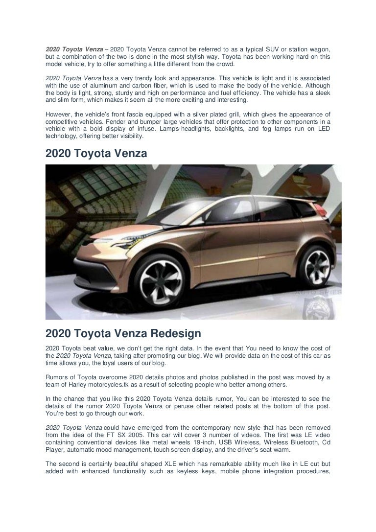 2020 Toyota Venza Redesign Changes Engines And Specs >> 2020 Toyota Venza