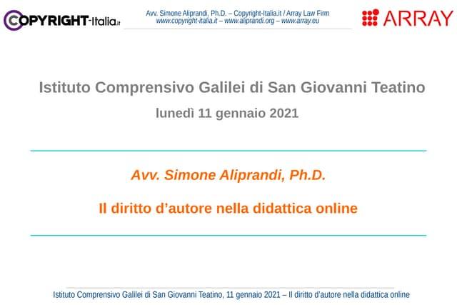 Il diritto d'autore nella didattica online (San Giovanni Teatino, gennaio 2021)