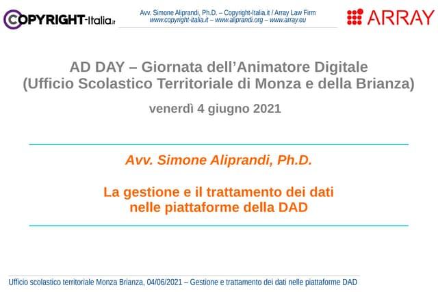 La gestione e il trattamento dei dati nelle piattaforme della DAD (giugno 2021)