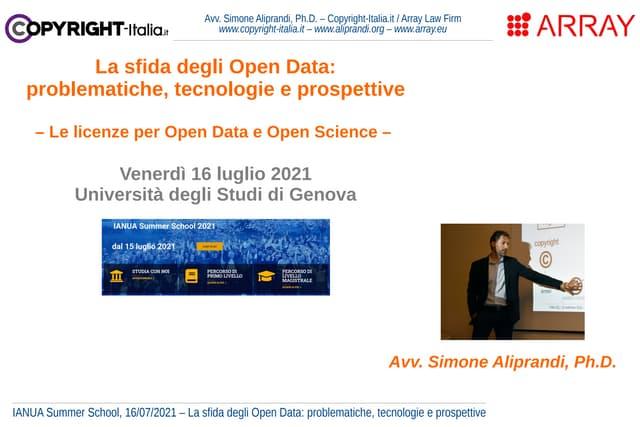 La sfida degli Open Data: problematiche, tecnologie e prospettive (IANUA, luglio 2021)