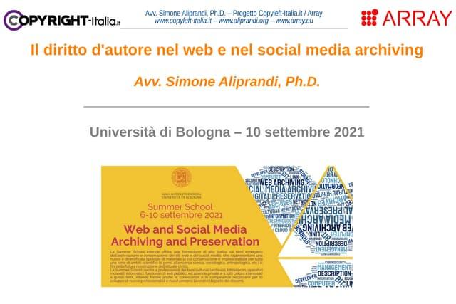 Il diritto d'autore nel web e nel social media archiving (sett. 2021)