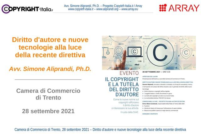 Diritto d'autore e nuove tecnologie alla luce della recente direttiva (Trento, sett. 2021)