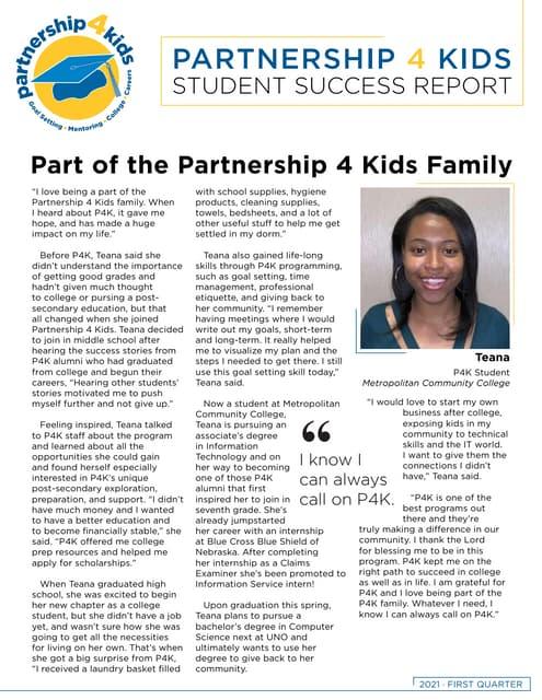 Partnership 4 Kids 2021 Quarterly Student Success Report (Q1)
