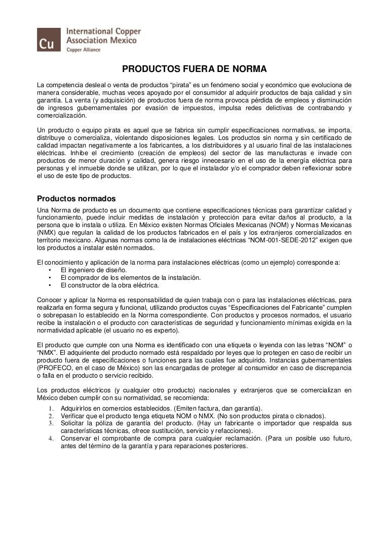 Resumen ejecutivo: Productos Fuera de Norma, (ICA-Procobre, Jun 2016)