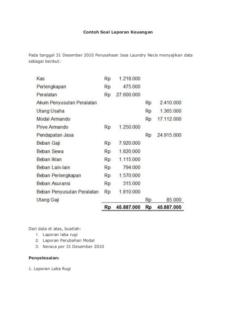 Contoh Soal Sederhana Laporan Keuangan