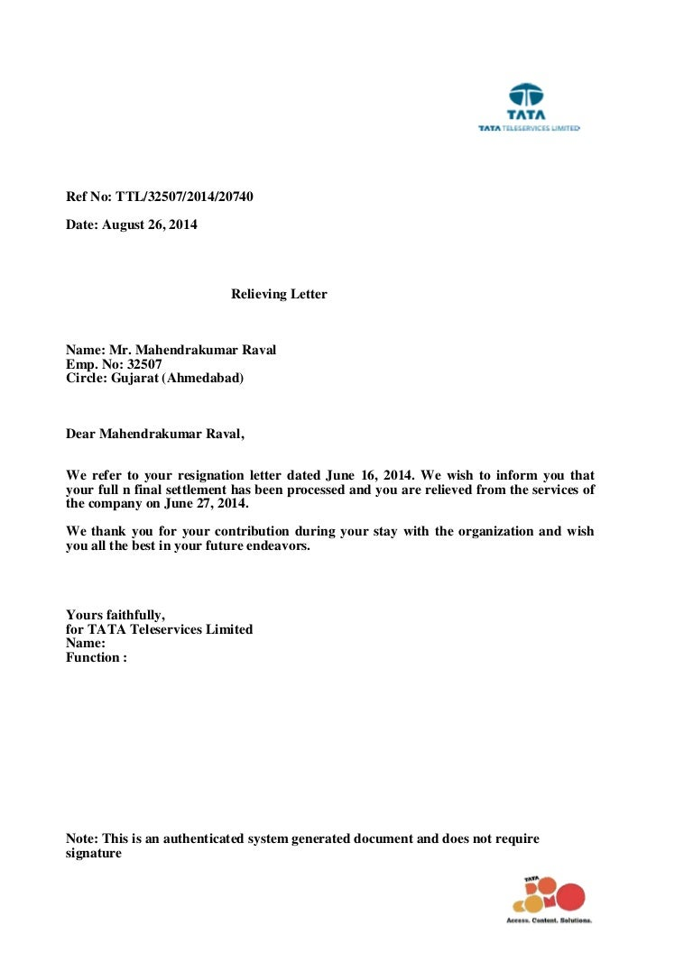 tata tele services ltd relieving letter
