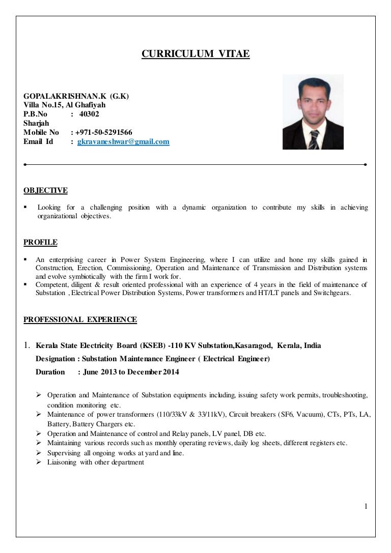 Resume Format For Experienced Electrical Engineers | Electrical Engineer Cv