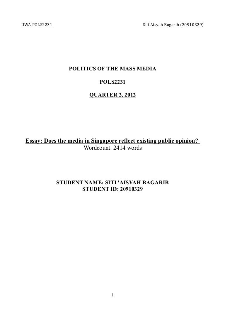 mass media essays violence in media effects on children essays  public opinion and the media in singapore