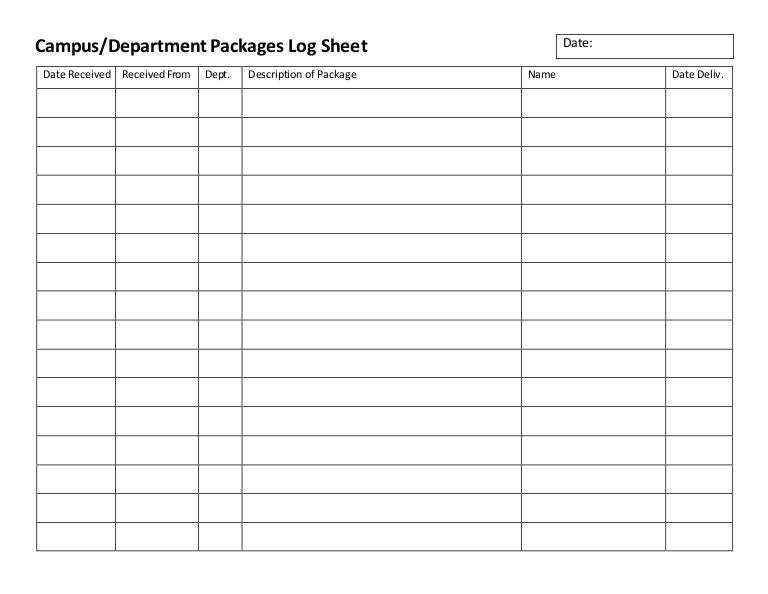 Csc Mail Room Campus Dept Packages Log Sheet