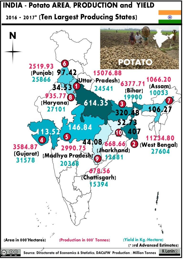 21.2 India Potato Area Production and Yield whole map 2016- 2017 on russia map, korea map, texas map, china map, europe map, australia map, california map, japan map, maharashtra map, canada map, sri lanka map, arabian sea map, brazil map, karnataka map, andhra pradesh map, france map, indian subcontinent map, time zone map, africa map,