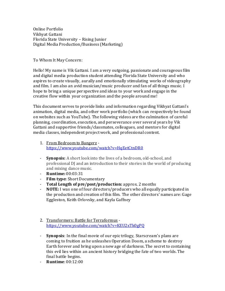 Online Portfolio Cover Letter