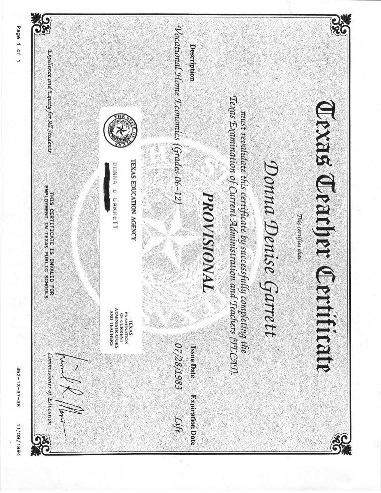 texas certificate teacher