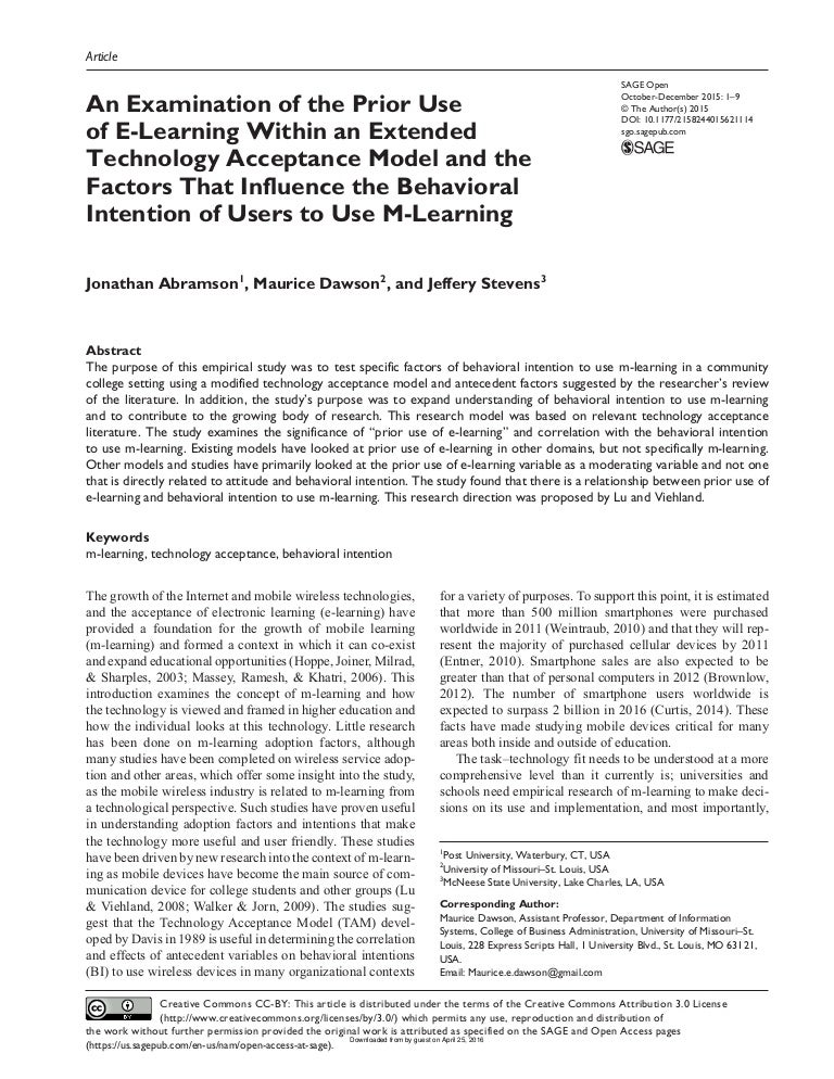An Examination of the Prior Use of E-Learning Within an Extended Tech…