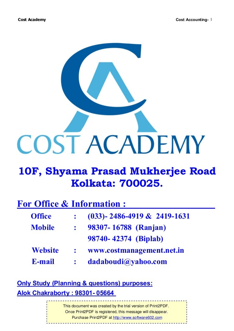 Cost accounting madrichimfo Choice Image