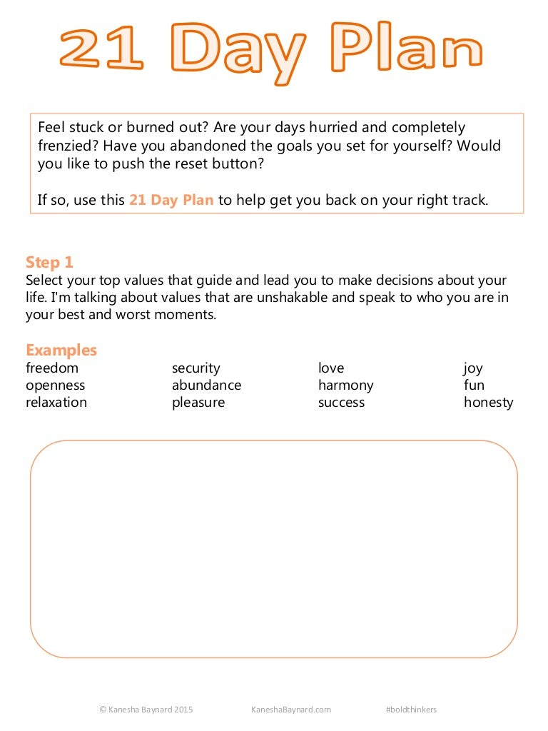 21 day plan guide worksheets