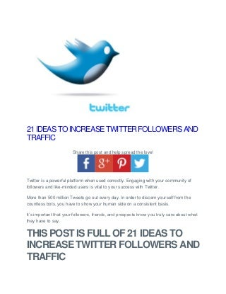 21 ideas to increase twitter followers and traffi1