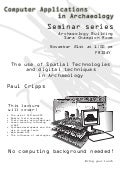 Computer Applications in Archaeology  Seminar Series