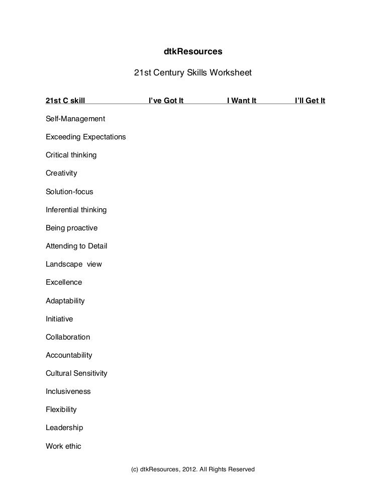 21st C Skill Worksheet