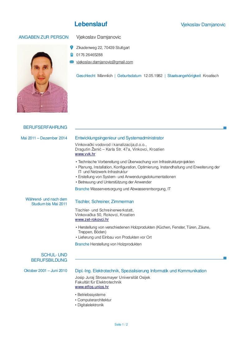 Ziemlich Diplom Elektro Lebenslauf Download Fotos - Entry Level ...