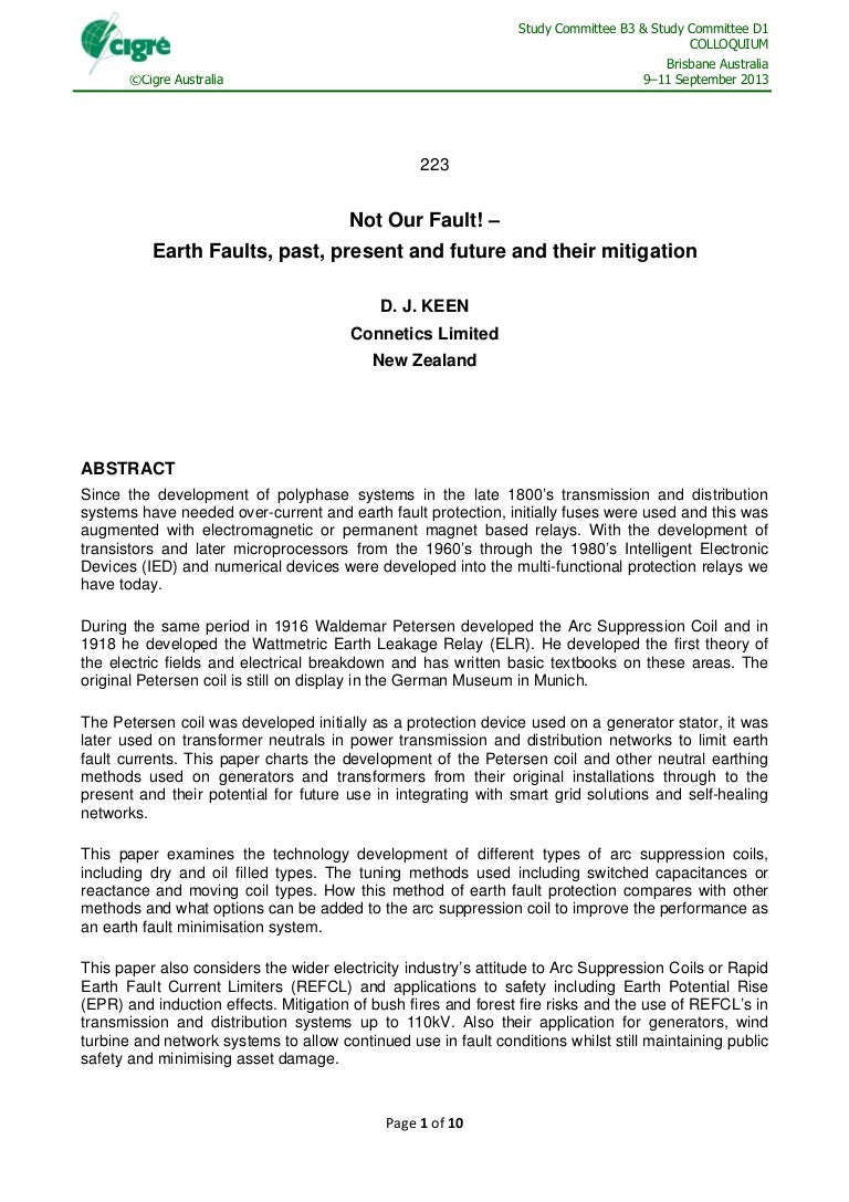 Not our fault! - earth faults, past, present, and future, and their m…