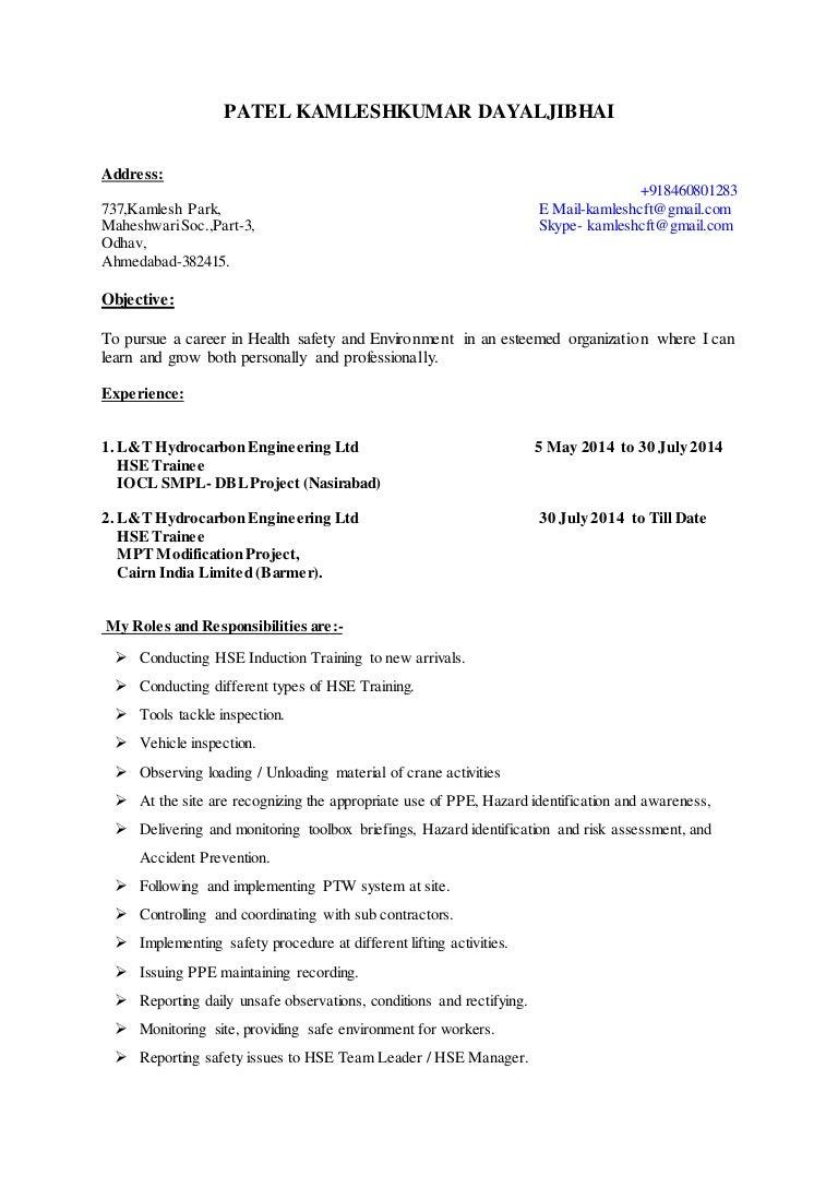 Kamlesh Patel HSE Resume