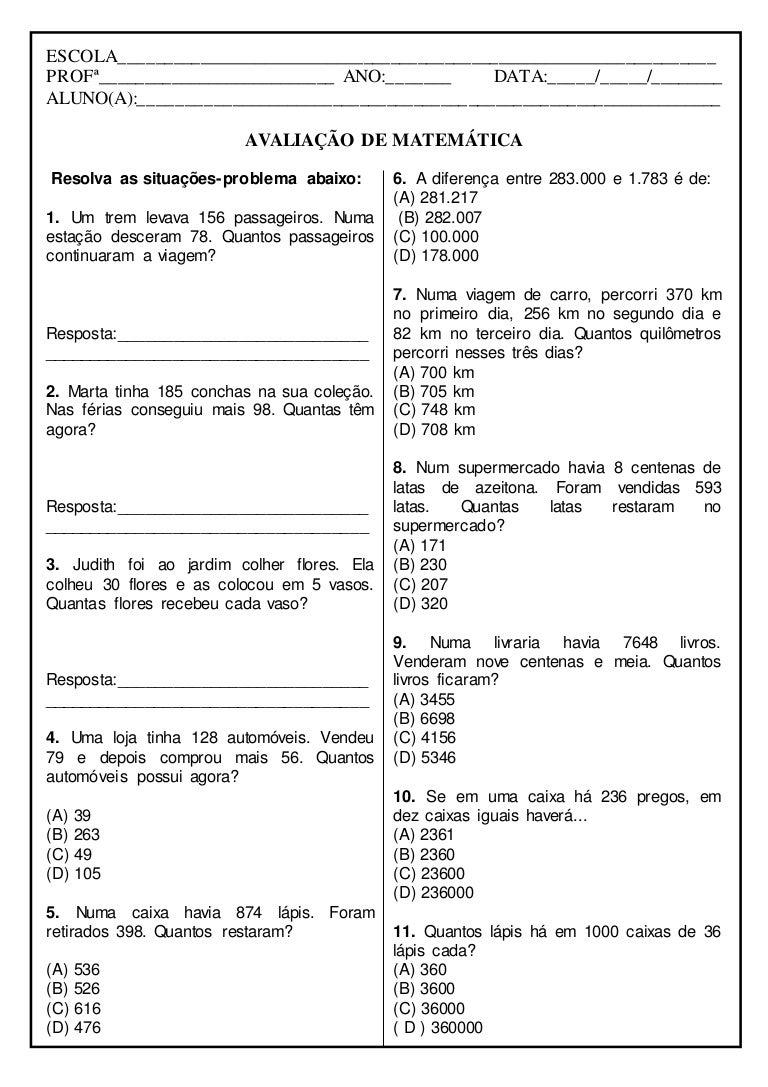 Avaliacao De Matematica Situacoes Problema