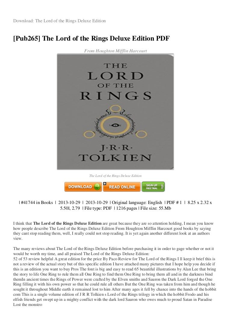 Download/read the hobbit (lord of the rings) ebook free pdf.