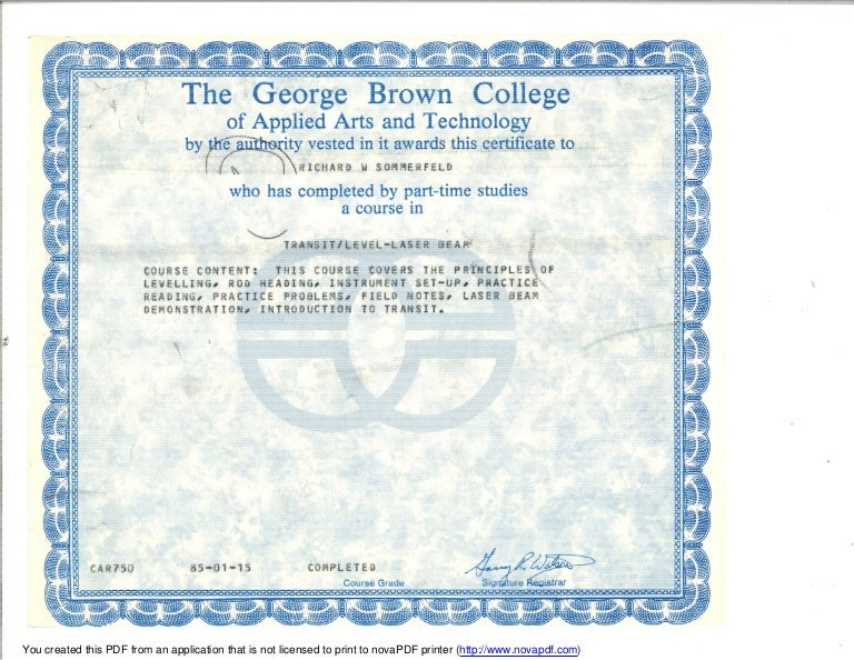 George Brown College Transit Level Laser Certificate