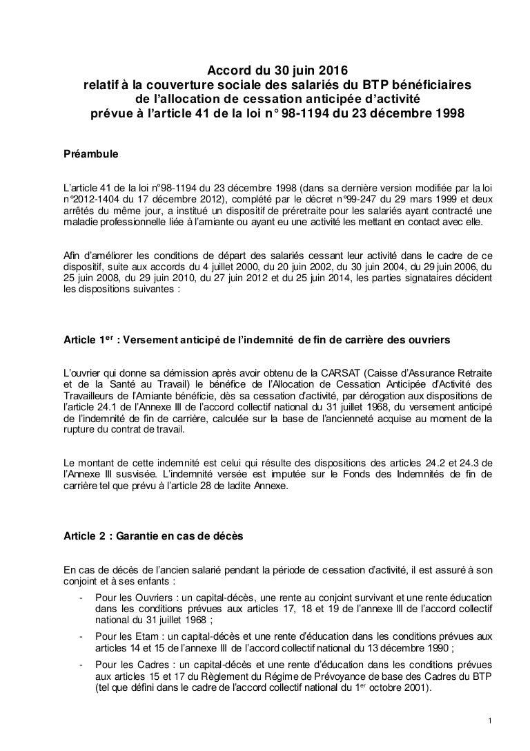 Ap 2278 Accord Amiante Btp Cessa Anticipee Activite